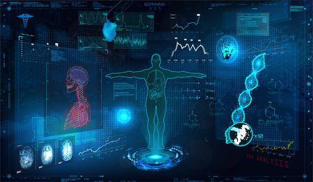 Medical examination HUD elements set. Display virtual interface (dna formula, ecg monitor, body scan, medical infographic, icons set, statistic and diagrams) Modern research of human health, vector Illustration
