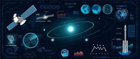 Radar Screen. Futuristic User Interface (Dashboard, Spaceship, Circle Elements, satellite, Data and Information). Radar Screen in the HUD Style, Future Vector Illustration Your Design Çizim