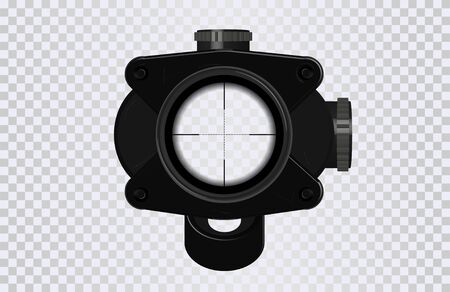 Sniper scope crosshairs in realistic style. Optical sight for your project. GUI element. Vector gaming template. Military and weapon.