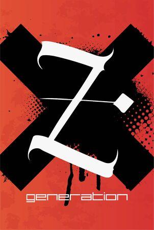 Generation Z vector illustration in grunge style. Z poster.