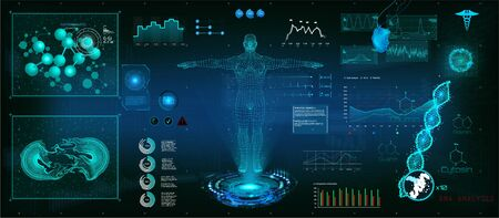 Healthcare futuristic examination in HUD style. DNA formula and molecular structure Human body. Body hologram, futuristic design. Sci infographic. Virtual graphic touch HUD display with illustration