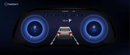 Automotive Dashboard, Futuristic Style. Car Instrument Panel. Tachometer, Data Display and Navigation (gps) Template Automotive Dashboard. Vector illustration