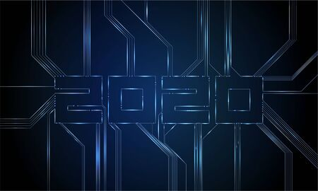 Circuit Board 2020, Technology CPU, Microprocessor Interface. Futuristic Vector Background. Circuit Number Digital Concept. PCB Illustration Happy New Year 2020