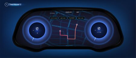 Automotive dashboard in Hud style. Driver dashboard touch user interface. Speedometer and gps navigation system in futuristic style HUD. Touch panel