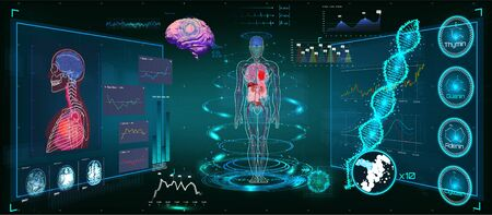 Medical Infographic HUD. Health and healthcare icons and Structure of human organs. Medical Infographic (Heart, lungs, stomach, kidney and human brain in 3D) Body Scanning (Sci fi, Ui, HUD elements)  イラスト・ベクター素材