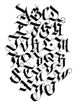 Handwritten calligraphy alphabet vector set. Medieval Latin letters. Individual letters. Elegant font for your project