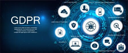 GDPR - General Data Protection Regulation. Idea of data protection. Protection of personal data. Vector illustration. GDPR concept Ilustracja