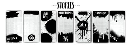 Social network stories templates on Black Friday and more.Spray graffiti, black splashes isolated on transparent background. Mock up stories grunge. fashion, interior design, photographer, ets  イラスト・ベクター素材