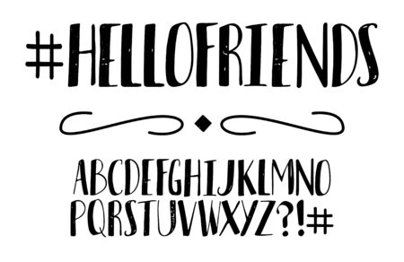 Vector black and white modern stylized font and alphabet. Isolated lettering text. Handwritten alphabet. Vector font