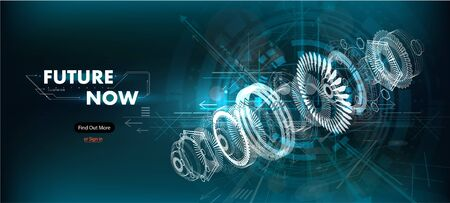 Abstract gear wheel mechanism background. Engineering drawing abstract industrial background with a cogwheels. Futuristic engineering background. 3D isometric vector illustration.  イラスト・ベクター素材