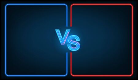 Versus battle, business confrontation screen with neon frames and vs icon illustration. Versus - vector illustration