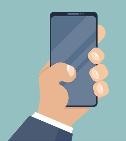 Smartphone in hand. Mobile phone holding in businessman hands. Cartoon style. Smart cellphone digital display. Smartphone in hand for your application, flat style, cartoon hand and phone. Vector