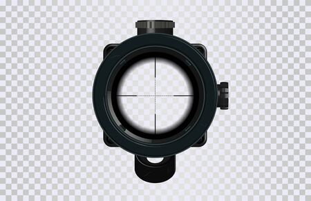 Sniper scope crosshairs in realistic style. Optical sight for your project. GUI element. Vector gaming template. Military and weapon
