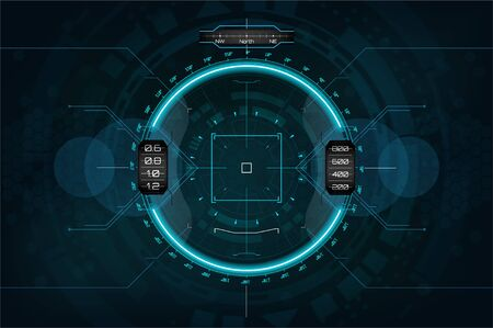 Modern aiming system. Sci-fi futuristic spaceship crosshair. Outline HUD user interface. Fullcolor interface. Techno target screen elements. Abstract Technology background. Vector gadget 일러스트
