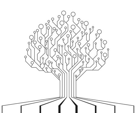 Circuit Board Tree. Technology CPU, Microprocessor Interface. The combination of life and technology. Isolated illustration. PCB electronic tree. Vector illustration  イラスト・ベクター素材