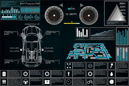 Car service in the style of HUD, Cars infographic ui, analysis and diagnostics in the hud style, futuristic user interface, repairs cars, Car auto service, mechanisms cars, car service HUD. dashboard  イラスト・ベクター素材