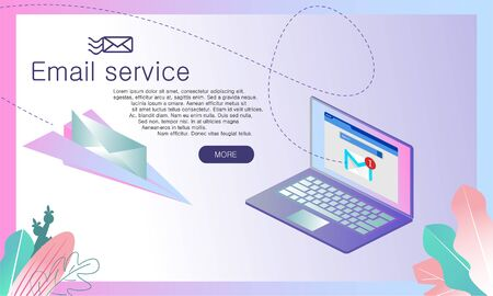 Email service isometric vector illustration. Web-Banner for Internet Mail. Electronic mail message concept. Web letter on paper aircraft, vector illustration 3d isometric.