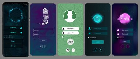 Login Screen and Sign In form template for mobile app or website design. Sign In, Sign Up, and Lock Screen for Mobile Apps and Responsive Website. Vector illustration template set. IU,UX, KIT  イラスト・ベクター素材