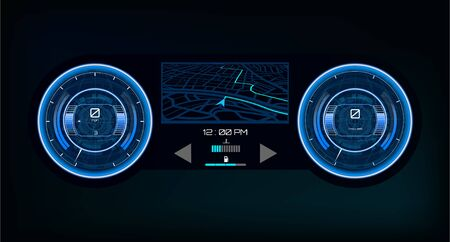 Automotive dashboard in Hud style Driver dashboard touch user interface. Speedometer and gps navigation system in futuristic style HUD. Touch panel