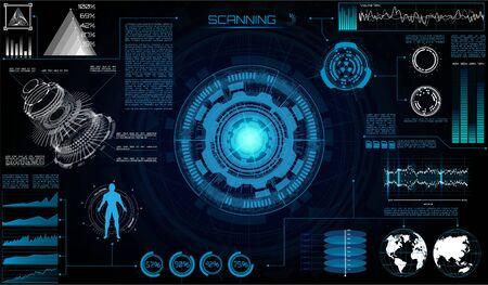 Futuristic Sci Fi Modern User Interface Set. Abstract HUD. Hologram elements of digital data chart, communication, hi tech future design background. Technology elements ui, scan in HUD style, gui