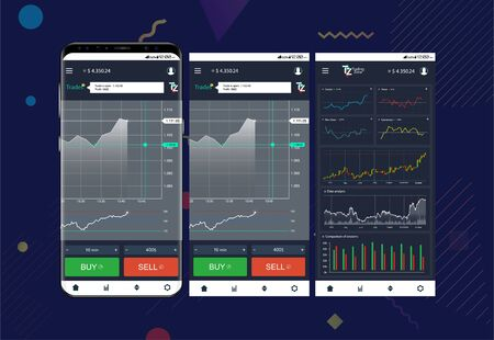 Trade exchange app on phone screens. Professional trader tools for successful trading. Mobile banking cryptocurrency ui. Interface app template for trading platform. Vector screens set