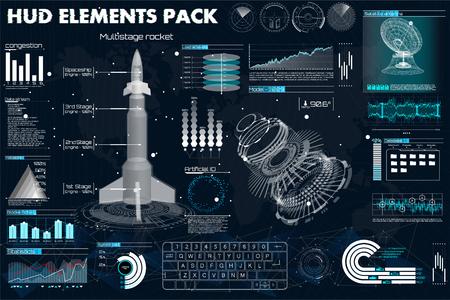 Weltraumraketen, Instrumententafel, Grafik, Radar, Raumschiff, Sensoren, 3D-Raumschiff im HUD-Stil, Elements-Pack der futuristischen Benutzeroberfläche. Template UI für App und Virtual Reality.