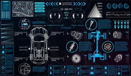 HUD 스타일의 자동차 서비스. 가상 그래픽 인터페이스 Ui HUD 자동 스캔, 분석 및 진단, 추상적 인 벡터 과학. 자동차 자동 서비스 인포 그래픽. 미래의 사용자 인터페이스를 복구합니다.