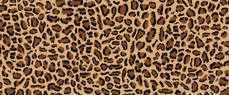 Diseño de patrón de leopardo, ilustración vectorial, fondo de moda, textura peluda real sin fisuras del patrón de piel de leopardo. Moda, tendencia 2019. Diseño animal. Marrón, naranja, amarillo