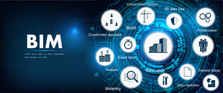 BIM banner - building information modeling. The concept of business. Vector illustration concept with icons and keywords. Bim background Ilustracja