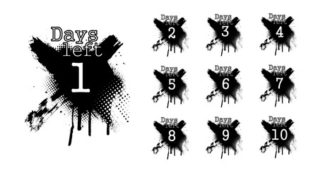 Number days left, countdown in dirty spray style. Isolated collection days left badges. Going countdown sign, one day left badge and business date count label. Vector