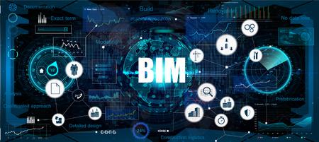 Bannière BIM - modélisation des informations du bâtiment. Le concept d'entreprise. Concept d'illustration vectorielle avec des icônes et des mots-clés. Arrière-plan bim