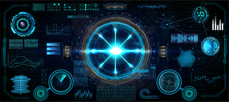Head-Up Interface set for GUI, UI, UX design. HUD style, Technology elements set (space, dashboard, hologram, spaceship, medicine, finance, analytics) Mechanical scheme HUD electric field. Vector set Векторная Иллюстрация