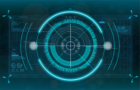 Modern aiming system. Sci-fi futuristic spaceship crosshair. Outline HUD user interface. Fullcolor interface. Techno target screen elements. Abstract Technology background. Vector gadget Illustration