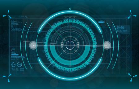 Système de visée moderne. Croix de vaisseau spatial futuriste de science-fiction. Décrire l'interface utilisateur HUD. Interface en couleur. Éléments de l'écran cible Techno. Abstrait de la technologie. Gadget de vecteur