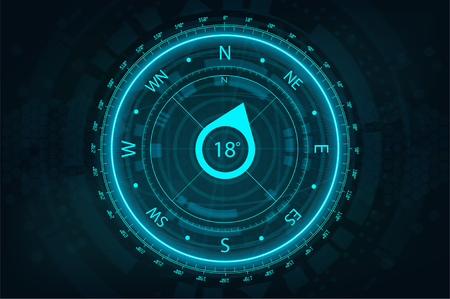 Futuristic Compass in HUD style for UI and UX, website or mobile application. Futuristic user interface gadget. Compass FUI, HUD. Vector illustration device