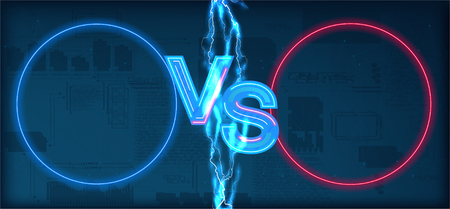 Versus battle, business confrontation screen with neon frames and vs logo illustration. Versus with electric lightning - vector illustration.