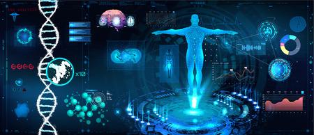 Escaneo futurista de atención médica en diseño de estilo HUD, escaneo del cuerpo humano, órganos y cerebro con imágenes. Elementos de alta tecnología. Interfaz de usuario de HUD táctil gráfica virtual con ilustración de fórmula de ADN y tabla de datos Ilustración de vector
