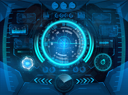 Cockpit helmet, Futuristic VR Head-up Display Design. Hud interface, Vr concept. View from the cockpit spaceship. HUD elements for virtual reality. Iron man interface Illustration