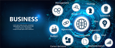 Business components (budget, documents, teamwork, agreement, money, implementation plan, strategy, idea, goal and research)