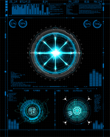 Interfaccia Head-Up impostata per GUI, UI, UX design. Stile HUD, set di elementi tecnologici (spazio, cruscotto, ologramma, astronave, medicina, finanza, analisi) Vista dall'astronave della cabina di pilotaggio Stile interfaccia utente HUD