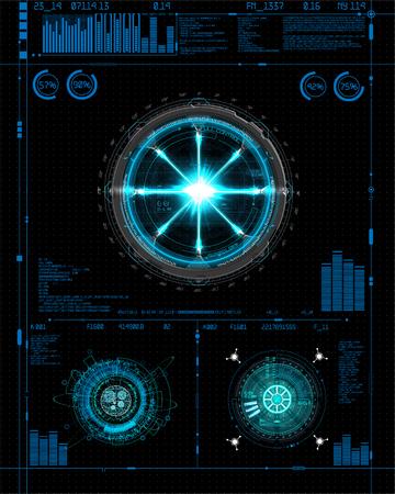 Zestaw Head-Up Interface do projektowania GUI, UI, UX. Styl HUD, zestaw elementów technologii (przestrzeń, deska rozdzielcza, hologram, statek kosmiczny, medycyna, finanse, analityka) Widok z kokpitu statku kosmicznego Styl interfejsu HUD