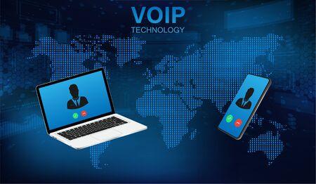 VoIP-Anrufsystem-Sprachtelefontechnologie. Voice over IP, IP-Telefonie-Konzept. Hightech-Rufsystem. Voice over IP-Internet, Datenwolke, Laptop und Smartphone. IP-Telefonie-Cloud-Pbx-Konzept