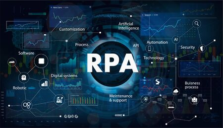 Robotic process automatisation (RPA). Programming Hi-tech devices and robots. RPA concept. Futuristic background with keywords and icons. Vector illustration Ilustração