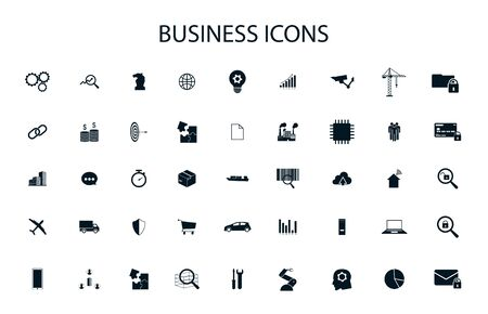 Simple business icons set for ui, web design. Universal business icons ( scm, iot, technology, production, logistics, marketing ) Vector collection business icons
