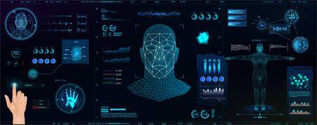 Hightech-biometrisches Identifikations- und Erkennungssystem von Personen. Vollständiger Scan und Personenauthentifizierung (Fingerabdrücke, Handfläche, Stimme, Gesicht und Körper mit Temperaturanzeigen und BPM-Herz). Ai-Scan Vektorgrafik