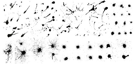 Nice collection of ink splashes blots splatter. Set grunge design element and art messy backdrop. High quality manually traced. Color dirty liquid. Black ink blow explosion. Vector grunge set
