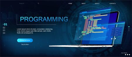 Programming or Software development web page template. Vector illustration with laptop isometric view and program code on screen. Programming concept. Technology process of Software development Vektorové ilustrace