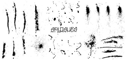 Set of black grunge splash on white background (isolated). High quality manually traced. Grunge distress calligraphy ink stains. Black ink blow explosion. Splatter grunge set. Vector