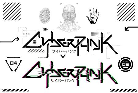 Cyberpunk futuristic lettering for T-shirt and merch. Tech design elements. Silkscreen clothing, logo, digital art. Lettering futurism T-shirt tech design elements. Japanese inscriptions - Cyberpunk