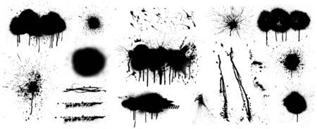 Stencil graffiti spray template. High quality manually traced. Black splashes isolated on white background. Color dirty liquid. Vector set Graffiti Spray Иллюстрация
